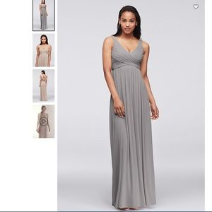 DAVID'S BRIDAL Long Mesh Dress with Cowl Back • 8